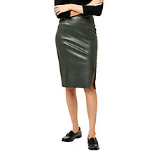 Buy Warehouse Faux Leather Pencil Skirt, Khaki Online at johnlewis.com