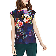 Buy Oasis Photographic Floral Capped Sleeve T-Shirt, Navy/Multi Online at johnlewis.com