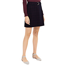 Buy Oasis Shadow Check Mini Skirt, Navy/Multi Online at johnlewis.com