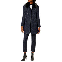 Buy Warehouse Swing Faux Fur Collar Coat, Navy Online at johnlewis.com