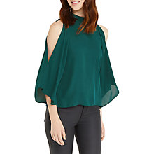Buy Oasis Halterneck Cold Shoulder Top, Turquoise Online at johnlewis.com