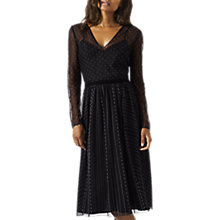 Buy Jigsaw Flocked Tulle V Neck Flared Midi Dress, Black/White Online at johnlewis.com