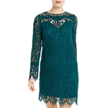 Buy Oasis Trimmed Lace Shift Dress, Turquoise Online at johnlewis.com