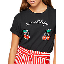 Buy Miss Selfridge Petite Sweet Life T-Shirt, Black/Multi Online at johnlewis.com