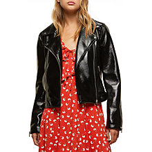 Buy Miss Selfridge Vinyl Biker Jacket, Black Online at johnlewis.com