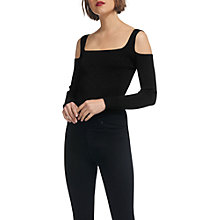 Buy Whistles Sparkle Bardot Knitted Top, Black Online at johnlewis.com