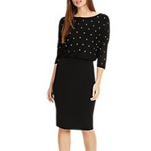 Buy Phase Eight Adele Star Embroidered Dress, Black/White Online at johnlewis.com