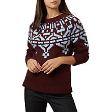 Buy Hobbs Christie Wool Blend Jumper, Burgundy/Blue Online at johnlewis.com