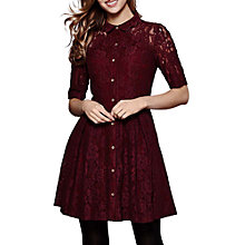 Buy Yumi Flared Lace Shift Dress, Burgundy Online at johnlewis.com