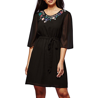 Yumi Botanical Embroidered Dress, Black