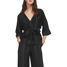 Buy Whistles Satin Stripe Kimono, Black Online at johnlewis.com