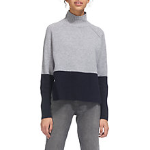 Buy Whistles Colour Block Funnel Neck Jumper, Grey Marl Online at johnlewis.com