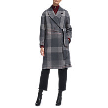 Buy Whistles Magdelina Belted Check Coat, Grey/Multi Online at johnlewis.com