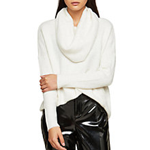 Buy Miss Selfridge Slouchy Cowl Neck Jumper, Cream Online at johnlewis.com
