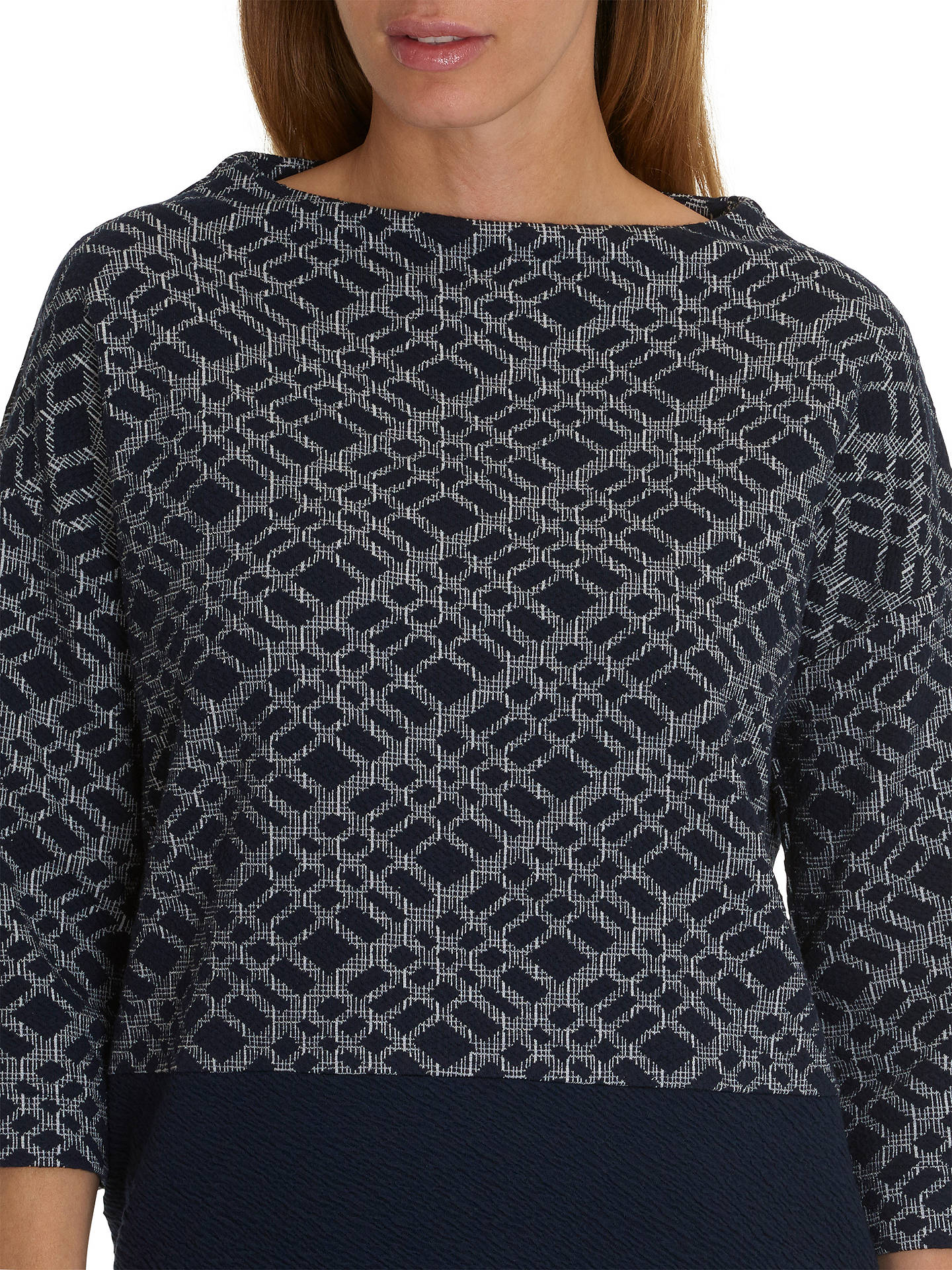 BuyBetty Barclay Three Quarter Sleeve Jumper, Blue/Cream, 16 Online at johnlewis.com