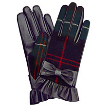 Buy Hobbs Una Leather Bow Gloves, Green/Multi Online at johnlewis.com