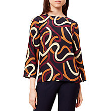 Buy Hobbs Chrissie Silk Blouse, Plum/Honey Online at johnlewis.com