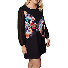 Buy Yumi Curves Nouveau Floral Placement Print Dress, Black/Multi Online at johnlewis.com