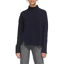 Buy Whistles Rib Detail Funnel Neck Jumper, Navy Online at johnlewis.com