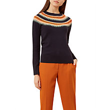 Buy Hobbs Greta Jumper, Navy/Orange Online at johnlewis.com