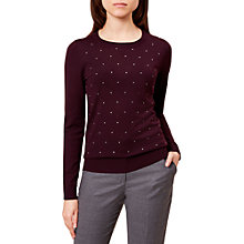 Buy Hobbs Gemma Jumper, Mulberry/Silver Online at johnlewis.com