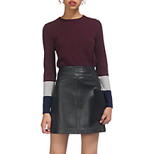 Buy Whistles Stripe Cuff Crew Neck Jumper, Fig Online at johnlewis.com