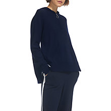 Buy Whistles Zip Front Wool Cashmere Mix Hoody, Navy Online at johnlewis.com