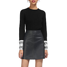 Buy Whistles Stripe Cuff Crew Neck Jumper, Black/White Online at johnlewis.com