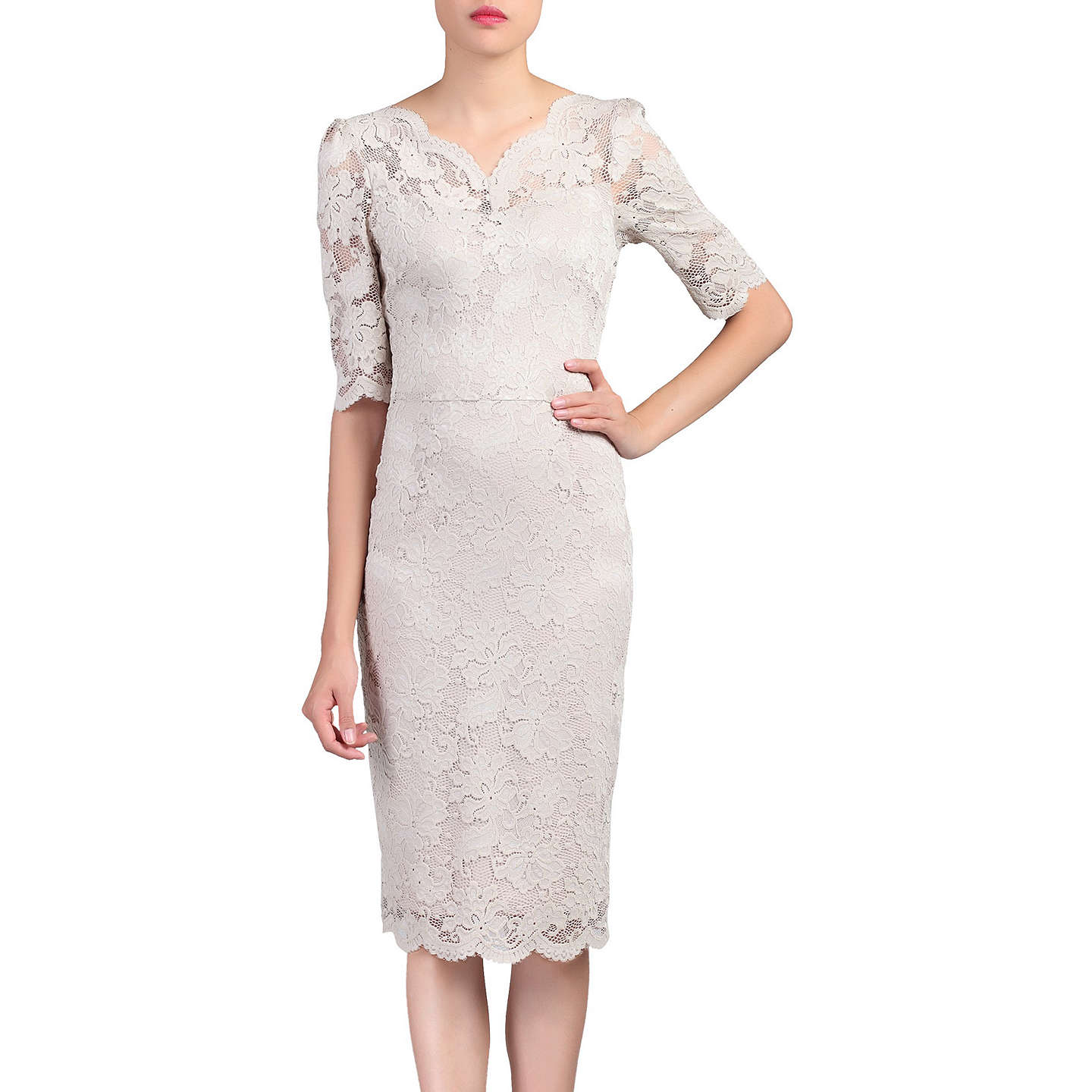 Jolie Moi Lace V Neck Bodycon Dress, Taupe At John Lewis