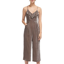 Buy Whistles Florence Velvet Jumpsuit, Silver Online at johnlewis.com