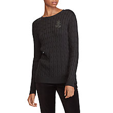 Buy Lauren Ralph Lauren Kati Crest Cable Knit Jumper, Polo Black Online at johnlewis.com