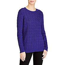 Buy Lauren Ralph Lauren Kati Cable Cotton Blend Jumper, Empress Blue Online at johnlewis.com
