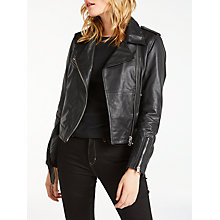 Buy Calvin Klein Mia Leather Biker Jacket, Black Online at johnlewis.com
