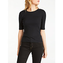 Buy Calvin Klein Lolo Ribbed T-Shirt, Black Online at johnlewis.com