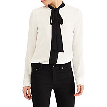 Buy Lauren Ralph Lauren Kuniko Georgette Necktie Blouse, Mascarpone Cream/Black Online at johnlewis.com