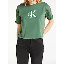 Buy Calvin Klein Shrunken True Icon T-Shirt, Trekking Green Online at johnlewis.com