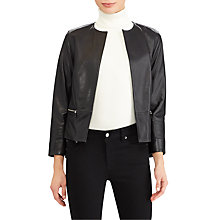 Buy Lauren Ralph Lauren Collarless Leather Jacket, Polo Black Online at johnlewis.com
