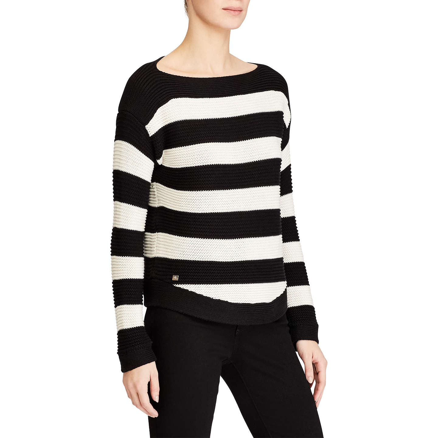 BuyLauren Ralph Lauren Vadrian Stripe Jumper, Polo Black/Mascarpone Cream, S Online at johnlewis.com