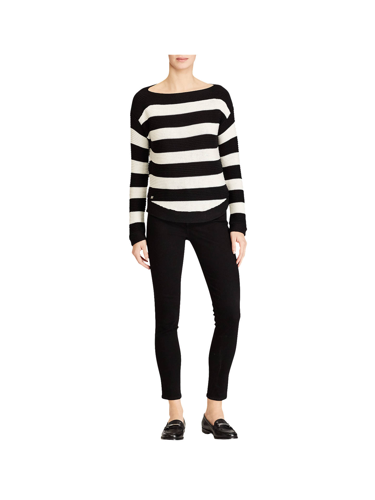 BuyLauren Ralph Lauren Vadrian Stripe Jumper, Polo Black/Mascarpone Cream, XS Online at johnlewis.com