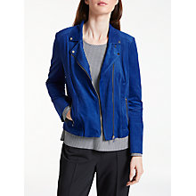 Buy Gerry Weber Faux Suede Biker Jacket, Electric Blue Online at johnlewis.com