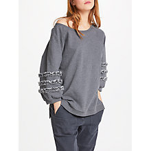 Buy AND/OR Lana Frill Sweat Top, Mid Grey Marl Online at johnlewis.com