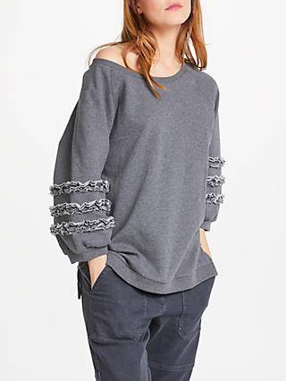 AND/OR Lana Frill Sweat Top, Mid Grey Marl