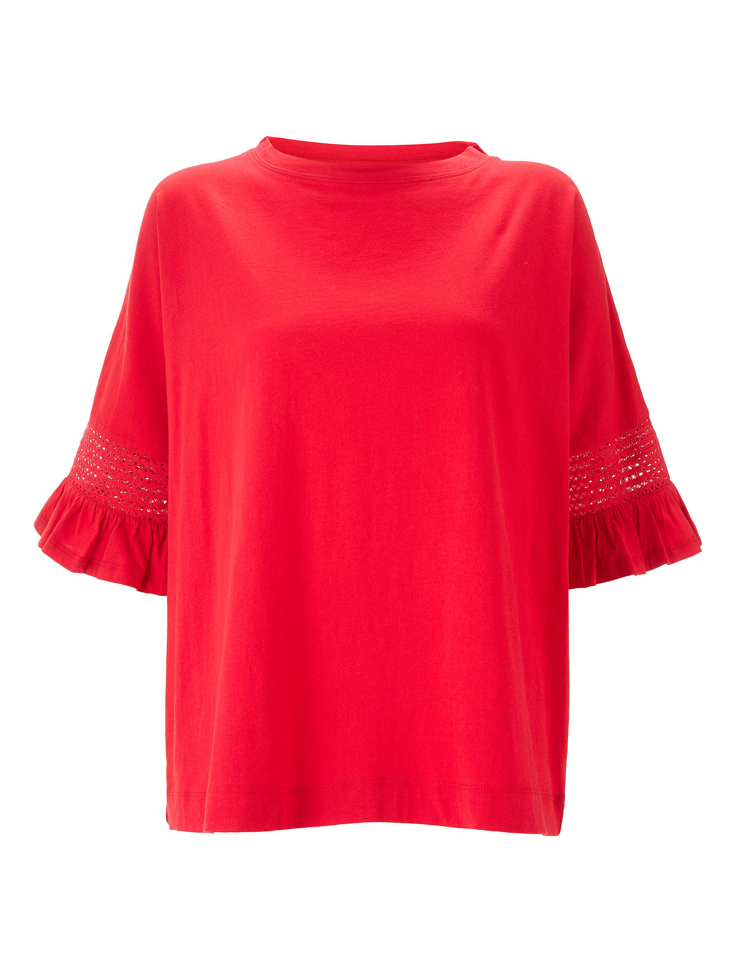 Buy AND/OR Macrame Frill Sleeve Top, Red, 8 Online at johnlewis.com