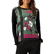 Buy Jigsaw Nordic Floral Silk Top, Foliage Green Online at johnlewis.com