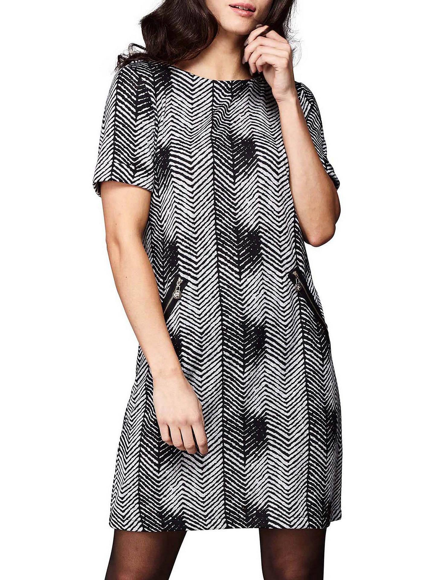 46d82be1a8aca Yumi Zig Zag Shift Dress, Black at John Lewis & Partners