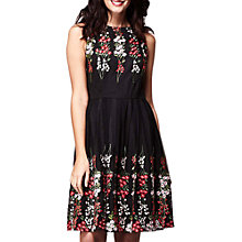 Buy Yumi Floral Embroidered Mirror Dress, Black Online at johnlewis.com