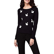 Buy Yumi Intarsia Swan Jumper, Black Online at johnlewis.com
