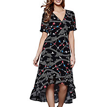 Buy Yumi Dip Hem Weaving Floral Dress, Black Online at johnlewis.com
