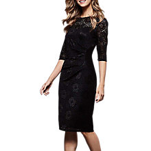 Buy Yumi Lace Front Gathered Dress, Black Online at johnlewis.com
