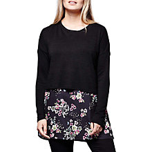 Buy Yumi Woven Botanical Tunic Dress, Black Online at johnlewis.com